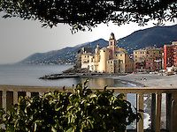 La spiaggia di Camogli con la chiesa di Santa Maria..Camogli beach with Santa Maria church on background
