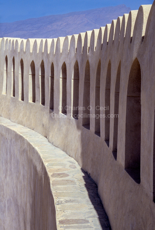 Nizwa, Oman.  Parapet Circling the Fort's Inner Courtyard, Windows Opening to the Surrounding Countryside.