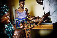 In a clinic in Gerihun, in Sierra Leone's Pujehun district, three year old Jewad Malukie, who has malaria, is examined by a physician from Meidcins Sans Frontieres (MSF). Fortunately, he has been diagnosed early and he will receive artemisinin combination therapy (ACT). ACT is currently the most effective treatment against malaria.