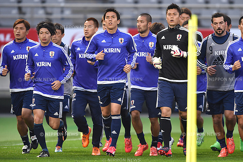 Japan team group (JPN), <br /> MARCH 30, 2015 - Football / Soccer : <br /> Japan training session <br /> at Tokyo Stadium in Tokyo, Japan. <br /> (Photo by AFLO SPORT)