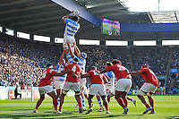 Tomas Lavanini of Argentina rises high to win lineout ball. Rugby World Cup Pool C match between Argentina and Tonga on October 4, 2015 at Leicester City Stadium in Leicester, England. Photo by: Patrick Khachfe / Onside Images