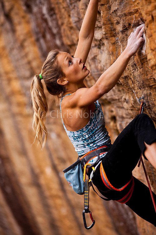 "Sasha DiGiulian climbing ""Golden Boy"" 13b at ""The Gold Coast,"" Pendergrass Murray Recreational Preserve, Red River Gorge, Kentucky, USA."