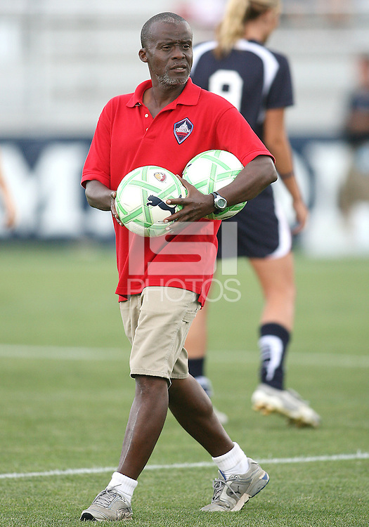 Assistant coach Clyde Watson of the Washington Freedom during a WPS match against the Boston Breakers at Maryland Soccerplex on July 29, in Boyds, Maryland.Freedom won 1-0.