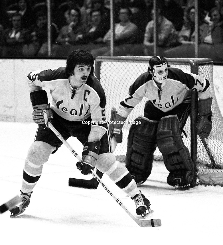 Seals captain Carol Vadnais helps guard the net along with goalie Gilles Meloche. (Photo/Ron Riesterer)