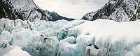 Deep crevasses on Franz Josef Glacier, Westland National Park, West Coast, World Heritage Area, South Westland, New Zealand