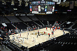 28 February 2016: The teams warm up before the game. The Wake Forest University Demon Deacons hosted the Virginia Tech Hokies at Lawrence Joel Veterans Memorial Coliseum in Winston-Salem, North Carolina in a 2015-16 NCAA Division I Men's Basketball game. Virginia Tech won the game 81-74.