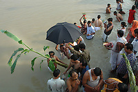 INDIA (West Bengal - Calcutta)  2006, A banana tree (mythically wife of Ganesha - the elephant god) is dipped in the holy waters of the Ganges. This ritual initiates the Durga Puja Festival. Durga Puja Festival is the biggest festival among bengalies.  As Calcutta is the capital of West Bengal and cultural hub of  the bengali community Durga puja is held with the maximum pomp and vigour. Ritualistic worship, food, drink, new clothes, visiting friends and relatives places and merryment is a part of it. In this festival the hindus worship a ten handed godess riding on a lion armed wth all possible deadly ancient weapons along with her 4 children (Ganesha - God for sucess, Saraswati - Goddess for arts and education, Laxmi - Goddess of wealth and prosperity, Kartikeya - The god of manly hood and beauty). Durga is symbolised as the women power in Indian Mythology.  In Calcutta people from all the religions enjoy these four days of festival in the moth of October. Now the religious festival has become the biggest cultural extravagenza of Calcutta the cultural capital of India. Artistry and craftsmanship can be seen in different sizes and shapes in form of the idol, the interior decor and as well as the pandals erected on the streets, roads and  parks.- Arindam Mukherjee