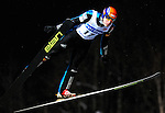 JURIJ TEPES of Slovenia soars through the air during the FIS World Cup Ski Jumping in Sapporo, northern Japan in February, 2008.