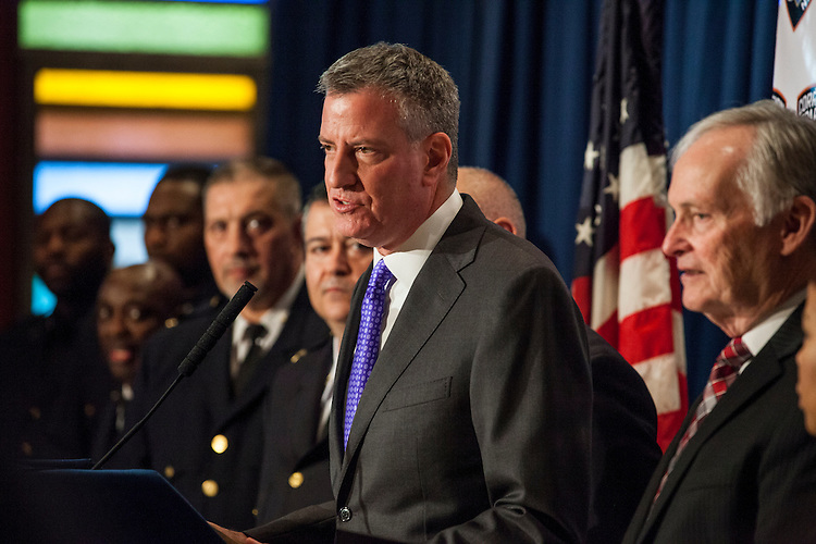 New York City Mayor Bill De Blasio pays a visit to Rikers Island to briefly tour the facilities and lead a press conference on the heel of several reforms being implemented at the facilities by the New York City Department of Correction.<br /> <br /> Photographed on December 17, 2014 by Mark Abramson for the Wall Street Journal