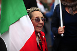 "Italy, Rome, November 5, 2011..A Italy demonstrator of the Centre-lef party (Democratic Party) carries a banner that reads ""Berlusconi human misery get out""while he takes part in a rally against the government of Italian Prime Minister Silvio Berlusconi at the at the San Giovanni square in Rome November 5 , 2011. VIEWpress / Kena Betancur.Italy's opposition crowded few street of Rome during a rally on Saturday demanding Silvio Berlusconi's resignation, the opposition ""DP"" is accusing the prime minister of dragging the country into bankruptcy and global shame. International newspapers reported."