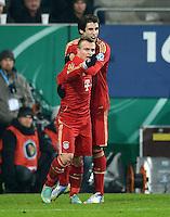 FUSSBALL  DFB-POKAL  ACHTELFINALE  SAISON 2012/2013    FC Augsburg - FC Bayern Muenchen        18.12.2012 Jubel nach dem Tor zum 0:2 Xherdan Shaqiri und Javi , Javier Martinez (v. li., FC Bayern Muenchen)