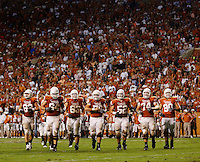 Offensive Line, Texas Longhorns. Texas A&M at Texas. Darrell K. Royal-Texas Memorial Stadium, Austin, TX. Thursday November 27, 2008. Photograph © 2008 Darren Carroll.