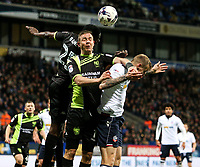 Bolton Wanderers' David Wheater battles in the air with Bury's Tom Pope and Leon Barnett <br /> <br /> Photographer Alex Dodd/CameraSport<br /> <br /> The EFL Sky Bet League One - Bolton Wanderers v Bury - Tuesday 18th April 2017 - Macron Stadium - Bolton<br /> <br /> World Copyright &copy; 2017 CameraSport. All rights reserved. 43 Linden Ave. Countesthorpe. Leicester. England. LE8 5PG - Tel: +44 (0) 116 277 4147 - admin@camerasport.com - www.camerasport.com