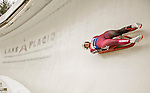 "5 December 2015: Kimberley McRae, competing for Canada, slides through Curve 10 ""Shady"" on her first run of the Viessmann World Cup Women's Luge at the Olympic Sports Track in Lake Placid, New York, USA. Mandatory Credit: Ed Wolfstein Photo *** RAW (NEF) Image File Available ***"