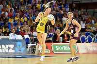 Katrina Grant in action during the ANZ Championship - Mojo Pulse v Queensland Firebirds at Te Rauparaha Arena, Porirua, New Zealand on Sunday 8 March 2015. <br />