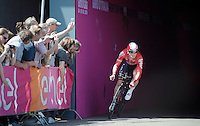 Andr&eacute; Greipel (DEU/Lotto-Soudal) leaving the velodrome tunnel at the start of the prologue<br /> <br /> stage 1: Apeldoorn prologue 9.8km<br /> 99th Giro d'Italia 2016