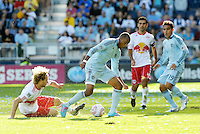 Sporting KC forward Teal Bunbury (9) gets past Red Bull defender Stephen Keel...Sporting Kansas City defeated New York Red Bulls 2-0 at LIVESTRONG Sporting Park, Kansas City, Kansas.