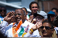 People sing the Indian hymn during the annual Indian independence day parade in New Jersey,  August 11, 2013. Photo by Eduardo Munoz Alvarez / VIEWpress.