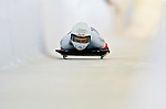 18 November 2005: Maya Pedersen of Switzerland slides down the track to take the gold medal at the 2005 FIBT World Cup Women's Skeleton competition at the Verizon Sports Complex, in Lake Placid, NY. Mandatory Photo Credit: Ed Wolfstein.