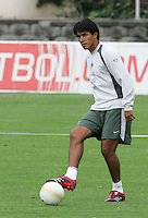 Mexico national soccer team player Claudio Suarez kicks the ball during a training session at the Centro Pegaso training center, March 27, 2006. Photo by Javier Rodriguez
