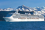 The vessel Coral Princess cruises Prince William Sound, Alaska.  College Fjord, is home to dozens of glaciers in the northwest portion of the sound near the town of Whittier.