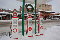 """Snowy Flying A in Truckee 4"" - This snow covered replica of a Flying A gas station was photographed in the early morning in Downtown Truckee, California."