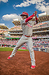 22 May 2015: Philadelphia Phillies outfielder Odubel Herrera stands on deck during a game against the Washington Nationals at Nationals Park in Washington, DC. The Nationals defeated the Phillies 2-1 in the first game of their 3-game weekend series. Mandatory Credit: Ed Wolfstein Photo *** RAW (NEF) Image File Available ***