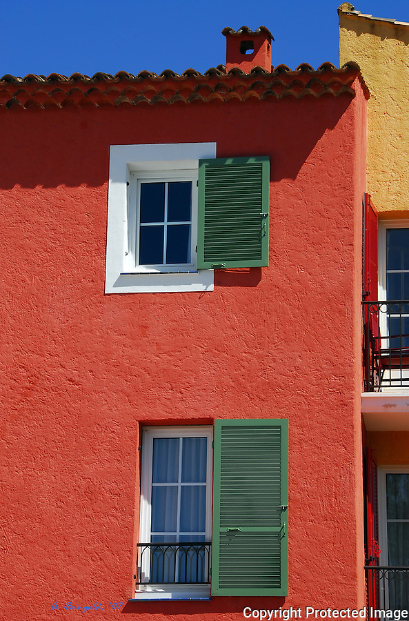 St Tropez, South of France, Red Home, Wooden Shutters, Summer in South of France<br /> <br /> CLICK ON ADD TO CART ABOVE TO SEE AVAILABLE STYLES, SIZES AND PRICES