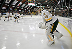 6 December 2009: University of Vermont Catamount goaltender Mike Spillane, a Senior from Bow, NH, warms up prior to facing the University of New Hampshire Wildcats at Gutterson Fieldhouse in Burlington, Vermont. The Wildcats defeated the Catamounts 5-2 in the Hockey East matchup. Mandatory Credit: Ed Wolfstein Photo