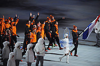 OLYMPICS: SOCHI: Fisht Stadium Sochi, 07-02-2014, Opening Ceremony, Entrance of the Dutch Olympic Team with flag bearer Jorien ter Mors, ©photo Martin de Jong
