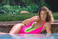 Model Rachel Hunter models swimsuit, Beverly Hills, California, June 1989. Photo by John G. Zimmerman