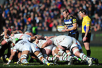 Chris Cook of Bath Rugby looks to put the ball into a scrum. Aviva Premiership match, between Bath Rugby and London Irish on March 5, 2016 at the Recreation Ground in Bath, England. Photo by: Patrick Khachfe / Onside Images