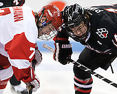 Cason Hohmann (BU - 7), Braden Pimm (NU - 14) - The visiting Northeastern University Huskies defeated the Boston University Terriers 6-5 on Friday, January 18, 2013, at Agganis Arena in Boston, Massachusetts.