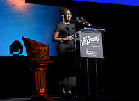 New York City, NY. October 20, 2014. New York City's First Lady, Chirlane McCray addresses audience during the 30th anniversary of The Bessies, the New York Dance and Performance Awards, which were held at the world famous Apollo Theatre in Harlem. Photo by Marco Aurelio/VIEWpress