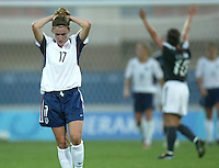 23 August 2004:  Heather O'Reilly disappoints when Germany scored a goal at 92 minutes during the semifinal game at Pankritio Stadium in Heraklio, Greece.     USA defeated Germany, 2-1 in overtime.   Credit: Michael Pimentel / ISI