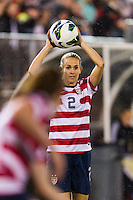 Heather Mitts (2) of the United States (USA) on a throw in. The United States (USA) and Germany (GER) played to a 2-2 tie during an international friendly at Rentschler Field in East Hartford, CT, on October 23, 2012.