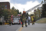 A lexington firefighter leaves the scene of the Chem-Phys building fire September 7.