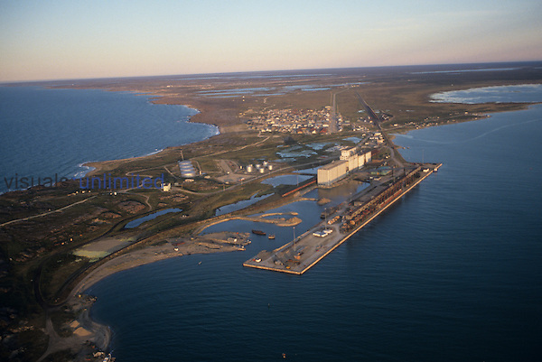 Aerial view of Churchill, Canada.