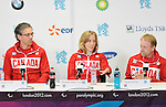 LONDON, ENGLAND 08/28/2012:  Gaetan Tardif, Elisabeth Walker-Young and Garett Hickling at the Team Canada Preview press conference before the London 2012 Paralympic Games at the Main Press Centre. (Photo by Matthew Murnaghan/Canadian Paralympic Committee)