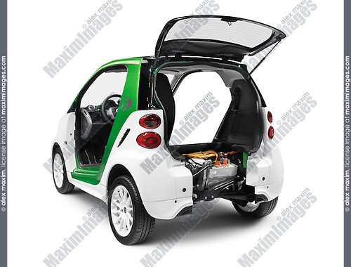 2012 Smart ForTwo Electric Drive open from behind showing the battery and the electric motor isolated on white background with clipping path