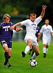 13 September 2009: University of New Hampshire Wildcats' midfielder Greg Brown (17), a Sophomore from Salem, NH, battles University of Portland Pilots' Michael Nielsen (12) during the second round of the 2009 Morgan Stanley Smith Barney Soccer Classic held at Centennial Field in Burlington, Vermont. The Pilots defeated the Wildcats 1-0 and inso doing were the Tournament Champions for 2009. Mandatory Photo Credit: Ed Wolfstein Photo