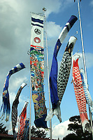"Childrens Day Carp Banners - Children's Day or ""Kodomo no hi"" is a Japanese national holiday on May 5, the fifth day of the fifth month and is part of the Golden Week. It is a day set aside to respect children's personalities and to celebrate their happiness. Originally it was called ""Boys Day"", as the carp typically represent boys in Japan."
