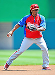 30 May 2011: Philadelphia Phillies outfielder Michael Martinez warms up prior to facing the Washington Nationals at Nationals Park in Washington, District of Columbia. The Phillies defeated the Nationals 5-4 to take the first game of their 3-game series. Mandatory Credit: Ed Wolfstein Photo