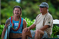 North Shore, Oahu, HAWAII - (Friday, Nov. 15, 2013) -- Brad gerlach (USA with legend surfer/shaper Ben Aipa (HAW). The REEF Hawaiian Pro is the first stop of the $960,000 Vans Triple Crown of Surfing.<br /> The contest has until November 23 to run four full days of competition where 128 of the world's best surfers will compete for critical ASP Prime points and a share of $250,000 prize money. The winner of this event will take home $40,000 and an early lead on the 2013 Vans Triple Crown series ratings. <br /> <br /> A bad day turned good for 6-time Vans Triple Crown champion Sunny Garcia (HAW) today, bowing out of the main event but getting the better of a fun reunion with three other legends of the sport to win the exhibition REEF Clash of the Legends. The $10,000 first prize definitely helped to lift his mood. His former tour traveling partner Kaipo Jaquias (HAW) was second; Michael Ho (HAW) was third; and California's Brad Gerlach (USA) was fourth. This was Garcia's second &quot;Clash&quot; title.Photo: joliphotos.com