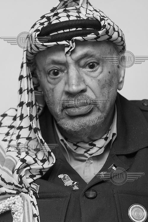 Palestinian president Yassir Arafat, photographed in his Ramallah headquarters