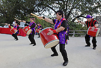 Okinawan dancers perform during the grand re-opening of the Jingu House, Saturday, Oct. 22, 2011, at the Japanese Tea Garden in San Antonio, Texas, USA. (Darren Abate/pressphotointl.com)