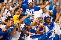 El Salvador fans celebrate a goal during a CONCACAF Gold Cup group B match at Red Bull Arena in Harrison, NJ, on July 8, 2013.