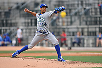 Starting pitcher Gerson Garabito (14) of the Lexington Legends delivers a pitch in a game against the Columbia Fireflies on Sunday, April 23, 2017, at Spirit Communications Park in Columbia, South Carolina. Lexington won, 4-2. (Tom Priddy/Four Seam Images)