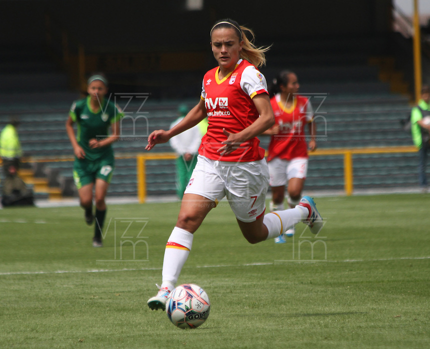 BOGOTA -COLOMBIA, 19-02-2017. Melissa Herrera player of Independiente Santa Fe in actions agasint Equidad.Action game between  La Equidad and Independiente Santa Fe  during match for the date 1 of the Women´s  Aguila League I 2017 played at Nemesio Camacho El Campin stadium . Photo:VizzorImage / Felipe Caicedo  / Staff