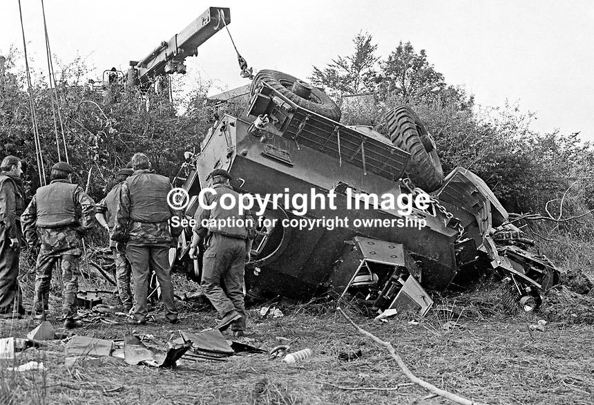 British Army engineers recover the Saracen armoured vehicle in which 3 soldiers died when a 400 to 500lb Provisional IRA landmine was detonated under it near Dungannon, Co Tyrone, N Ireland, on 10th Septermber 1972. The 3 soldiers who died were members of the Argyll &amp; Sutherland HIghlanders regiment. Five other soldiers were injured. A civilian, who shortly after the blast drove his Mini into the 25ft deep crater was only slightly hurt. 197209100553a<br />